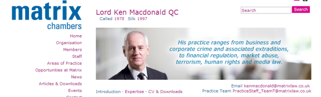 Matrix Chambers' Lord Ken Mcdonald has provided support to BOTH Sami al-Saadi and Abdulla Senussi.