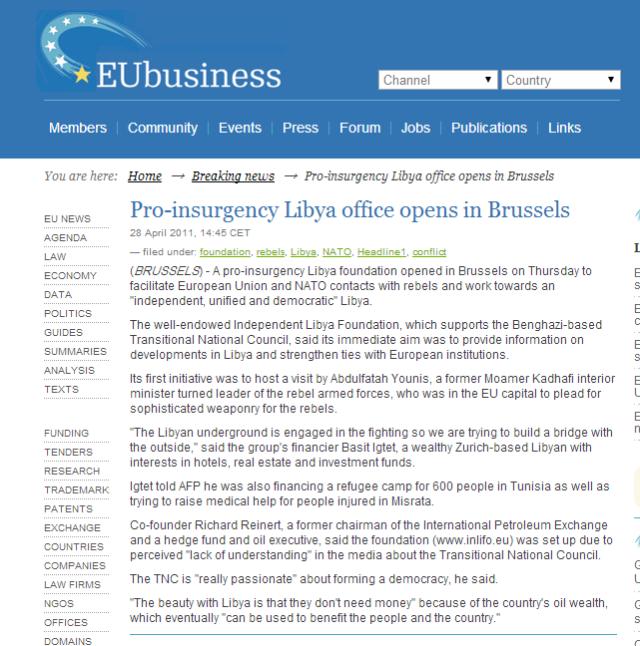 1Pro insurgency Libya office opens in Brussels — EUbusiness