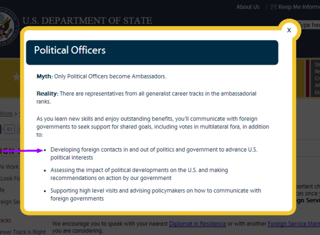 Career Tracks U.S. Department of State Political Officer