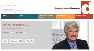 Geoffrey Robertson QC Doughty Street Chambers