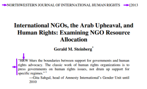 This 149-page document is published by the respected (ranked 12th) Northwestern Law School. 'In the case of Libya', accuses Human Rights Watch 'HRW and Amnesty International of 'actively promoting the regime…'.