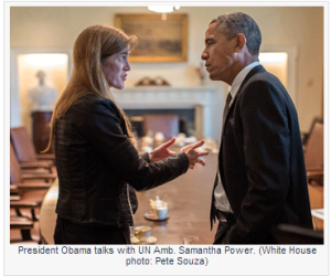 Ambassador Samantha Power and President Obama White House Photo Pete Sousa HERE