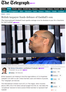 British taxpayer funds defence of Gaddafi's son TheTelegraph Photo Stringer-Reuters