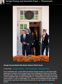 George Clooney and Samantha Power in the White House October 2010 Photo Zimbio Here