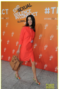 Irony? Human Rights Lawyer for Abdulla Senussi, Muammar Gaddafi's spy chief and brother-in-law, attends Global Summit to End Sexual Violence. His Lawyer Amal Alamuddin in London June 12th 2014.
