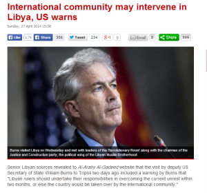 William Burns: International Community may intervene in Libya. Middle East Monitor Here