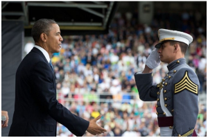 President Obama at West Point Commencement 28th May 2014. He gave a Foreign Policy speech. White House photo Pete Sousa HERE