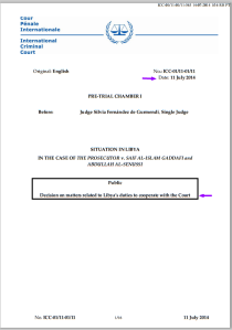 11 July 2014 Decision on Libya's Duties to Cooperate with the Court. doc 1801733