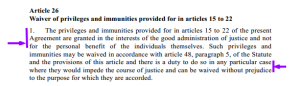 26.1 Waiver of Privileges and Immunities...