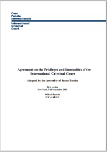 Agreement on the Priviledges and Immunities of The International Criminal Court
