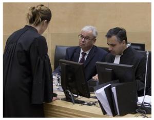 At the ICC. Ahmed Al-Jehani and Payam Akhavan, members of Libya's team