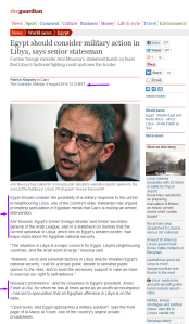 Egypt should consider military action in Libya says Amr Moussa The Guardian 4 August 2014 HERE