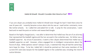Hafed Al Ghwell: Should I Consider Him Friend or Foe? The Global Attitude 25 November 2011. HERE