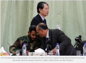 ICC President Song, Zintan Brigade Commander Ajmi Ateri and Deputy Foreign Minister Mohamed Abdel Aziz