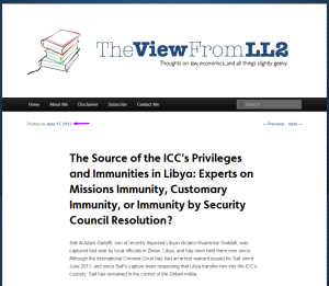 The Source of the ICC's Privileges and Immunities in Libya... The View From LL2