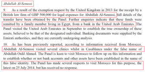 UNSC Report UK exemption for Abdulla Senussi's Law firm 500K