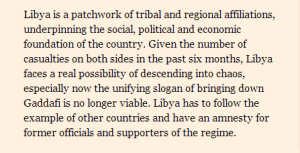 Excerpt from the Financial Times' We must embrace Gaddafi's Allies...or else. HERE