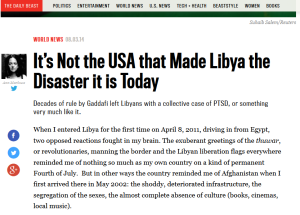 'It's Not the USA that Made Libya the Disaster it is Today' by Ann Marlowe The Daily Beast