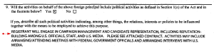 Dr. Bashir Musa's FARA 6238 List of 'political activities' provided by the lobbyist