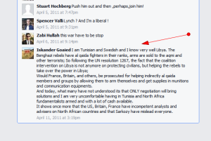 'Iskander Goaied' commenting on Facebook April 2011