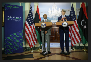 Abdullah Al Thinni meets John Kerry at African Summit August 2014. Image Zimbo .com HERE