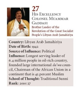 Muammar Gaddafi 27 in 2010 The Muslim 500 2010 www_download_farhathashmi_com_dn_df-Profile_Testimonials_Muslim500-2010_Muslim500-2010-Third-Edition(s)-001