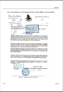 Alleged Forged WACG document UN Security Council Report on Libya 2015 p 149