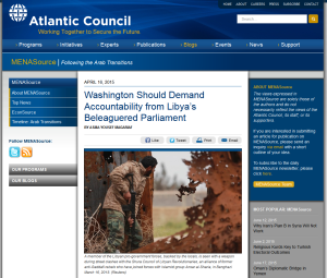 'Washington Should Demand Accountability from Libya's Beleaguered Parliament' The Atlantic Council.