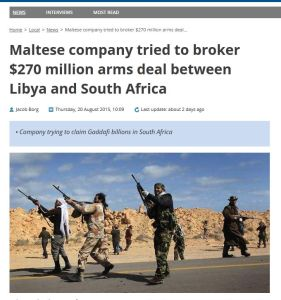 'Maltese company tried to broker $270 million arms deal between Libya and South Africa - The Malta Independent'