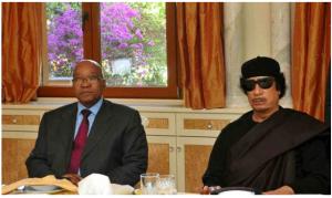 South African President Jacob Zuma and Libyan Dictator Muammar Gaddafi