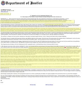 Press Release Department of Justice July 2004