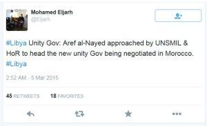 Mohamed Aljarh 'Mohamed Eljarh on Twitter_ _#Libya Unity Gov_ Aref al-Nayed approached by UNSMIL & HoR to head the new unity Gov being negotiated in Morocco_ #Libya_'