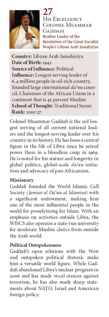 Muammar Gaddafi #27 in 2010 The Muslim 500 2010 www_download_farhathashmi_com_dn_df-Profile_Testimonials_Muslim500-2010_Muslim500-2010-Third-Edition(s)-001