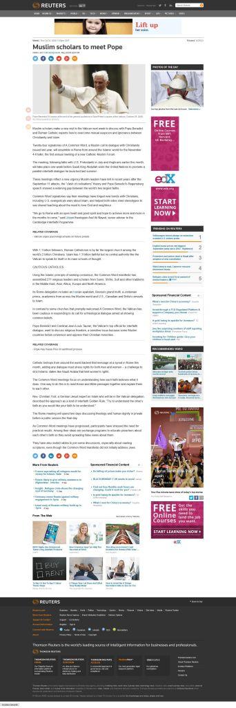 'Muslim scholars to meet Pope Reuters'