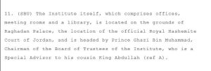 ROYAL Connections in Palace Offices of Royal AAl Al-Bayt Institute in Wikileaks Cable 2008