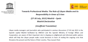 UNESCO-SPAIN MADRID DECLARATION ON Libyan Journalism