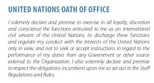 UN OATH OF OFFICE -Putting Ethics to Work