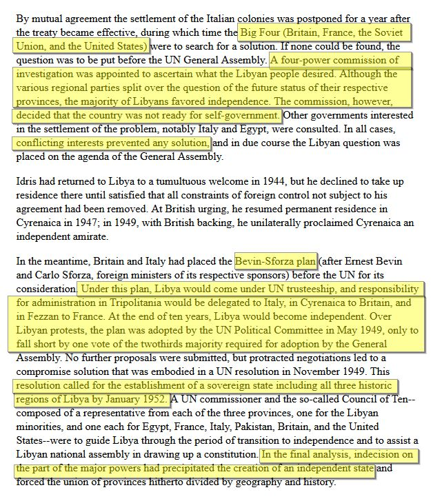 US LIBRARY OF CONGRESS: History of 'Libya - The United Nations and Libya'