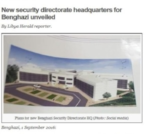 'New security directorate headquarters for Benghazi unveiled' Libya Herald, 1 September 2016 Interior Ministry Security Headquarters paid for with NOC funds & approved by NOC Head Mustafa Sanalla.