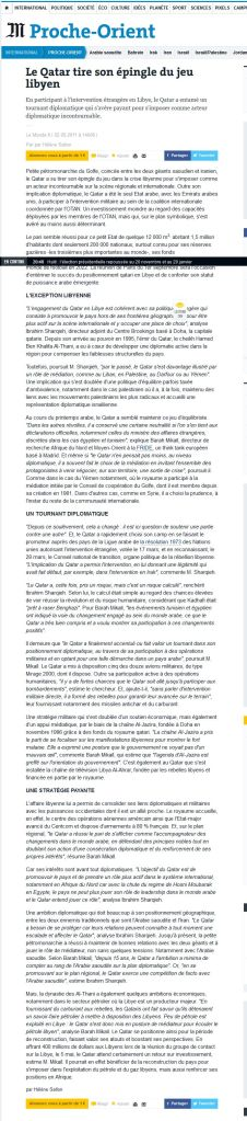 """""""Le Qatar tire son épingle du jeu libyen"""" Le Monde"""