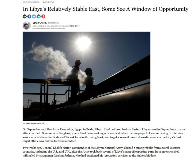 """In Libya's Relatively Stable East, Some See A Window of Opportunity"" Forbes Ethan Chorin"