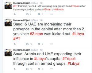 Saudi & UAE increase presence in Tripoli Mohamed Eljarh twitter
